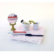 Puppenhaus Rasierzeug, Zahnputz, Handtuch Puppenhaus Badezimmer Miniaturen 1:12