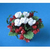 Kleine Rosen im Topf Blumen Puppenhaus Dekoration Miniatur 1:12