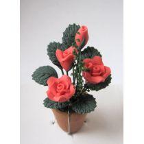 Rote Rosen im Blumentopf Puppenhaus Miniatur 1:12