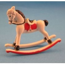 Schaukelpferd Metall Puppenhausmöbel Spielzeug Miniatur 1:12