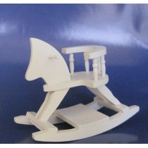 Schaukelpferd Holz weiss Puppenhausmöbel Miniatur 1:12