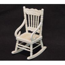 Schaukelstuhl weiss Puppenhaus Möbel für die Puppenstube 1:12