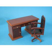 Schreibtisch Set braun Puppenhaus Möbel Miniaturen 1:12