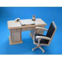 Schreibtisch Set Eiche hell Puppenhaus Möbel Miniaturen 1:12