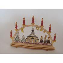 Schwibbogen Kirche bunt Fensterschmuck im Puppenhaus Miniaturen 1:12