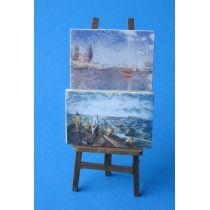 Staffelei mit 2 Bildern Puppenhaus Möbel Deko Miniaturen 1:12