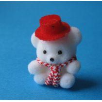 Teddybär weiss mit Hut Puppenhaus Kinderzimmer Miniaturen 1:12