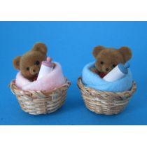 Teddybär im Korb Puppenhaus Kinderzimmer Miniaturen 1:12