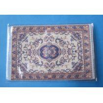Teppich beige blau 16 x 10 cm Puppenhaus Möbel Miniatur 1:12