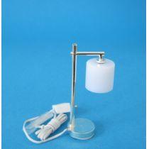 Tischlampe silber Zylinderschirm weiss  Puppenhaus Beleuchtung Miniaturen 1:12