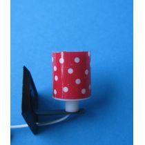 Wandlampe Schirm rot weiße Punkten Puppenhausmöbel Miniatur 1:12