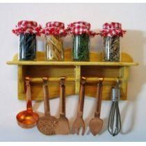 Wandregal mit Küchenutensilien  4 Gläser Puppenhaus Miniatur 1:12