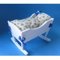 Puppenwiege mit Kissen Puppenhausmöbel Miniatur 1:12