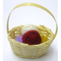 Korb mit Wolle Puppenhaus Dekoration Miniaturen 1:12