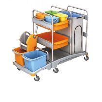 Servicewagen Reingungswagen mit Moppresse, 6 Eimern, Ablage und Müllsackhalter