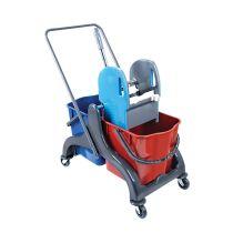 CleanSV© Aura2 Reinigungswagen Kunststoff, Putzwagen PE Gestell, Profi Moppresse, 2 Eimer (rot / blau) und Dei