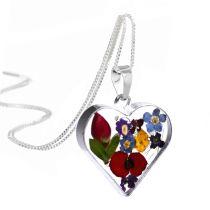 Herz Anhänger mit gemischten Miniaturblüten und 925 Silberkette