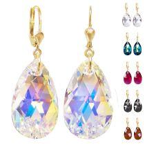 Vergoldete Ohrhänger mit Swarovski® Kristall Tropfen 22mm groß, 10/000 Gold Doublé, verschiedene Farben