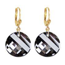 Ohrringe mit Swarovski® Kristall Twist grau, vergoldet, 10/000 Gold-Doublé Ohrhänger, Crystal Silver Night