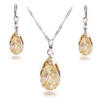 Schmuckset aus Siber Rhodium mit Kristall Tropfen von Swarovski® in Crystal Golden Shadow