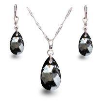 Silber Schmuckset mit edel funkelndem Silver Night Kristall Tropfen von Swarovski®