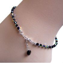 Schwarze Fußkette aus funkelnden Swarovski® Kristallperlen und 925 Silber