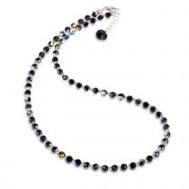 Halskette schwarz aus 4mm Swarovski® Kristallperlen