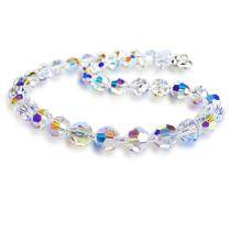 Collier aus 10mm Swarovski® Kristallperlen Crystal Aurora Boreale