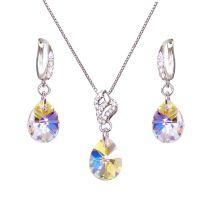 Feines Silber Schmuckset mit kleinen Kristall Tropfen von Swarovski® in Crystal Aurora Boreale