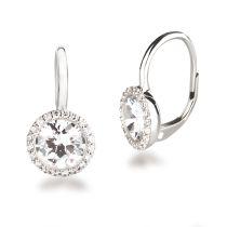 Neu: Edel glitzernde Ohrringe aus rhodinierten Silber mit Zirkonia