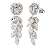 Silber Ohrringe Blume hängend Blatt Ranke Zirkonia Traube lang