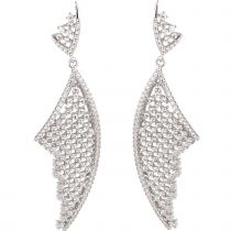 Lange Zirkonia Gitternetz Ohrringe 925 Silber Rhodium