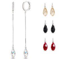 8cm lange Silber Ohrringe Creolen mit Swarovski® Kristallen