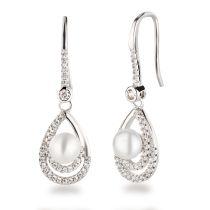 Neu: Ohrhänger Tropfenform mit Süßwasser Perle Silber