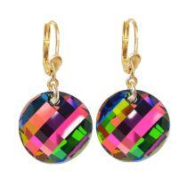 Vergoldete Ohrringe mit bunt funkelndem Swarovski® Twist Kristall Vitrail Medium