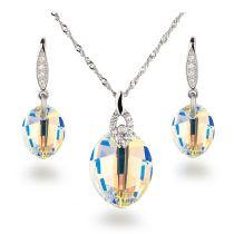 Schmuckset Crystal Aurora Boreale Leaf Kristall von Swarovski® 925 Silber Rhodium