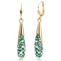 Ohrringe vergoldet mit Swarovski® Kristall Pavé dunkel-grün