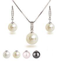 Perlen Schmuckset, Ohrhänger und Halskette mit Anhänger, besetzt mit Zirkonia, 925 Silber rhodiniert
