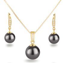 Schmuckset Perlen dunkelgrau 925 Silber vergoldet Ohrhänger und Anhänger besetzt mit Zirkonia