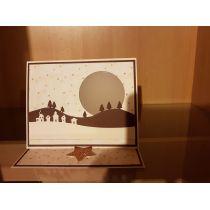 B6 Karte m. Licht 15 x 12 cm + LED Licht + Kuvert Motiv: Häuser