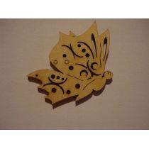 Holz Kleinteile Schmetterling Seitenansicht 40mm