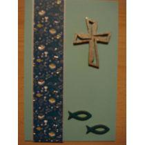 Kommunion Konfirmation handgemachte Karte mit Holzteilen und farbigen Papier