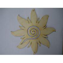 Sonne mit breiten Strahlen und Spirale 120mm