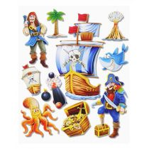 3 D Sticker Piraten  XXL 30x30 cm