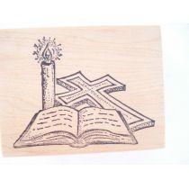 Motivstempel Kerze, Kreuz, Bibel