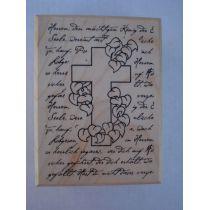 Motivstempel Schrift mit Kreuz