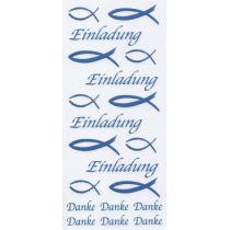 Sticker Fisch, Einladung, Danke Rub on blau
