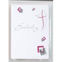 Modernes Kreuz Einladung 6 Karten und 6 Umschläge