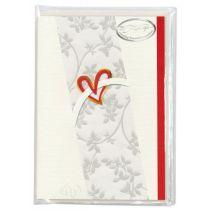 Rotes Herz, roter Rand 6 Karten / 6 Kuvert / 6 Einleger