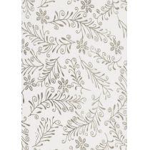 CREApop® Deko-Stoff ca. 29 cm/1 m Organza Zweige weiß/silber